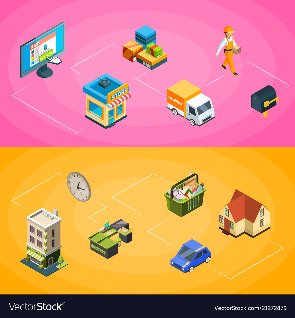 Isometric online shopping icons infographic