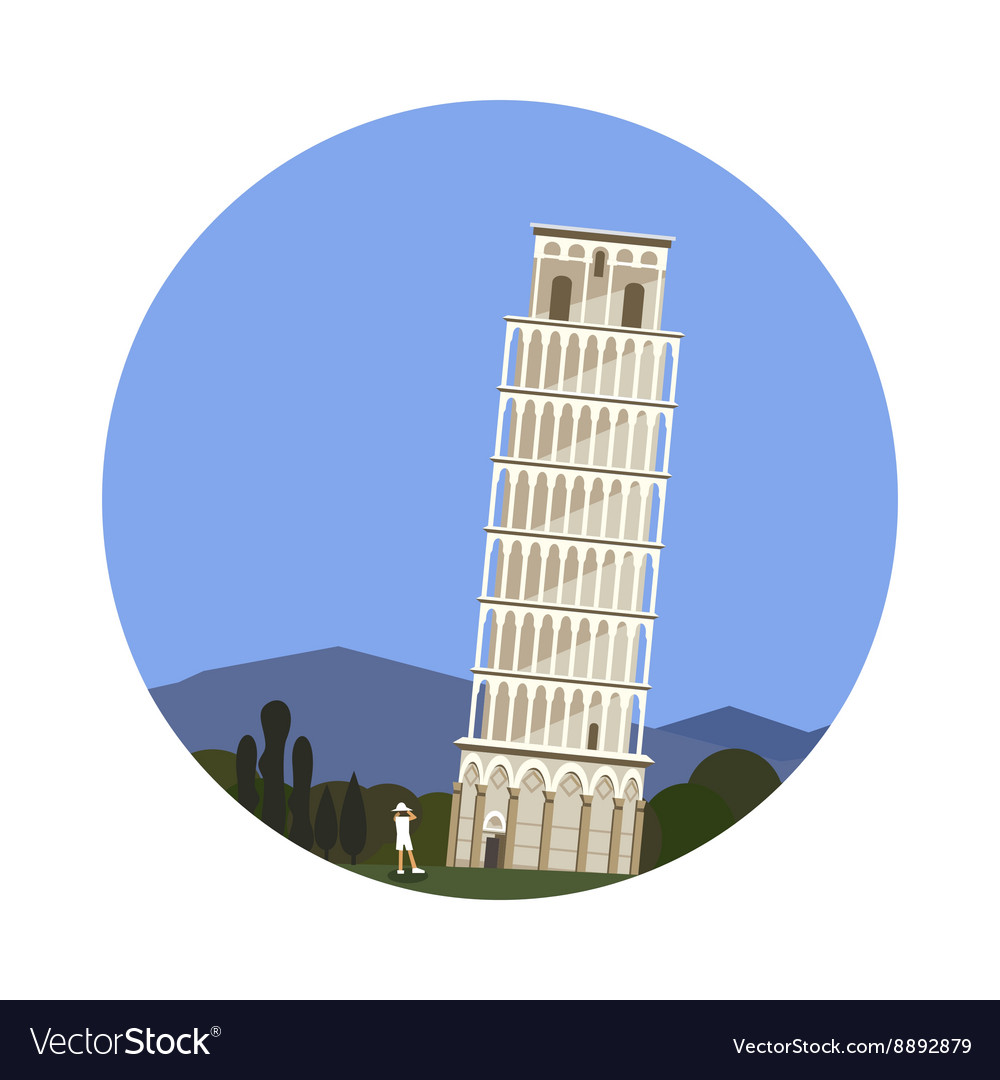 Leaning Tower of Pisa icon isolated on white
