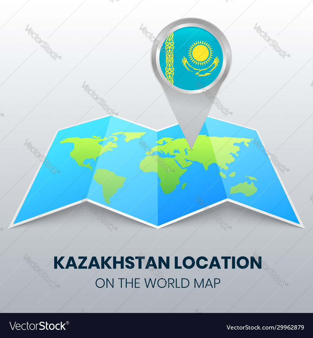 Picture of: Location Icon Kazakhstan On World Map Royalty Free Vector