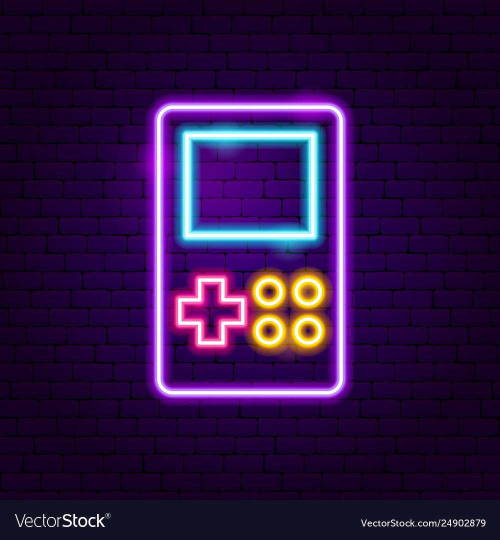 Retro game neon label