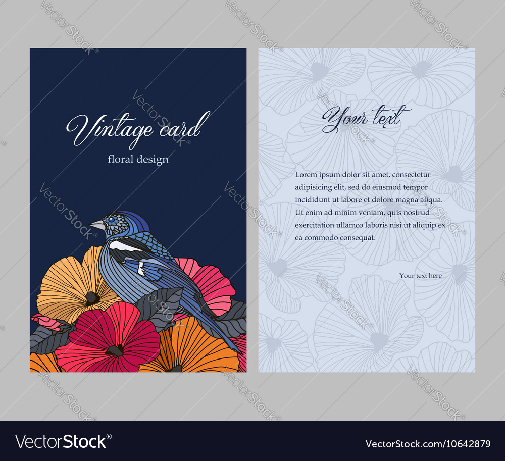 Sided postcard with a floral pattern