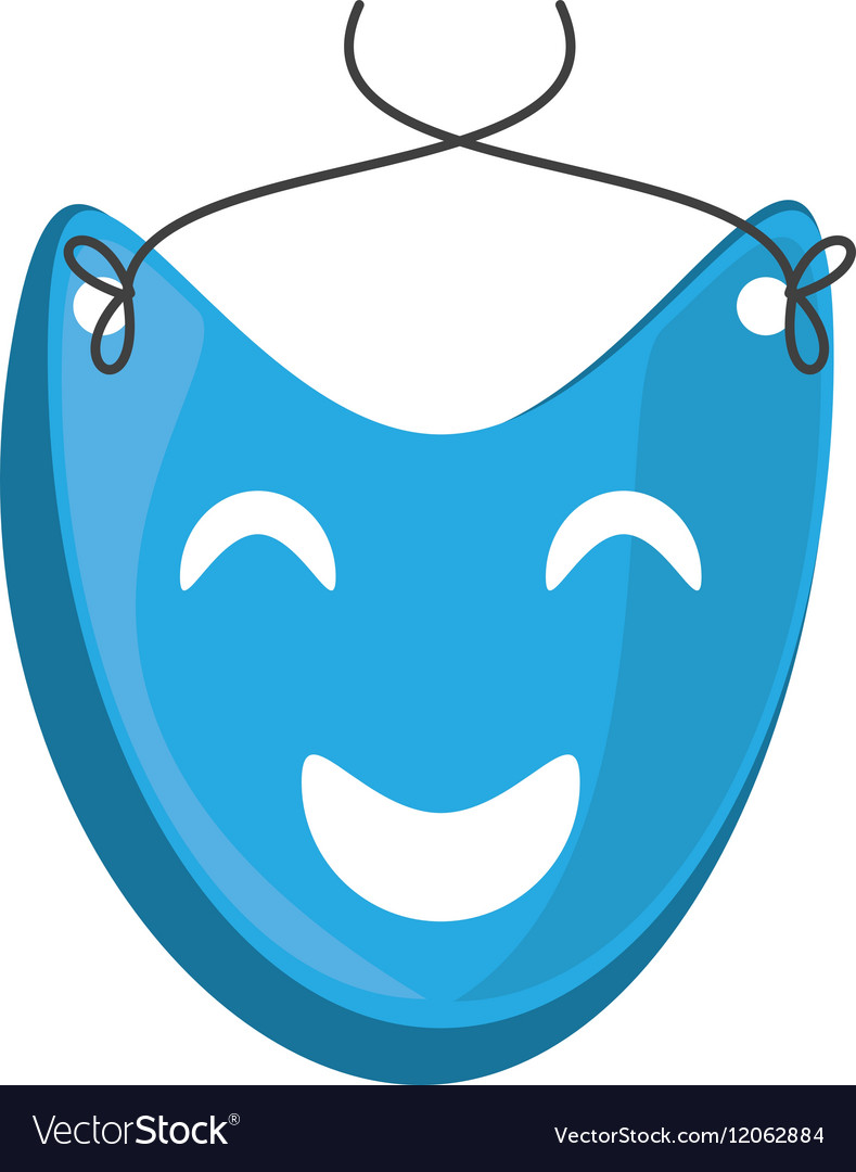 Blue mask happy theater graphic