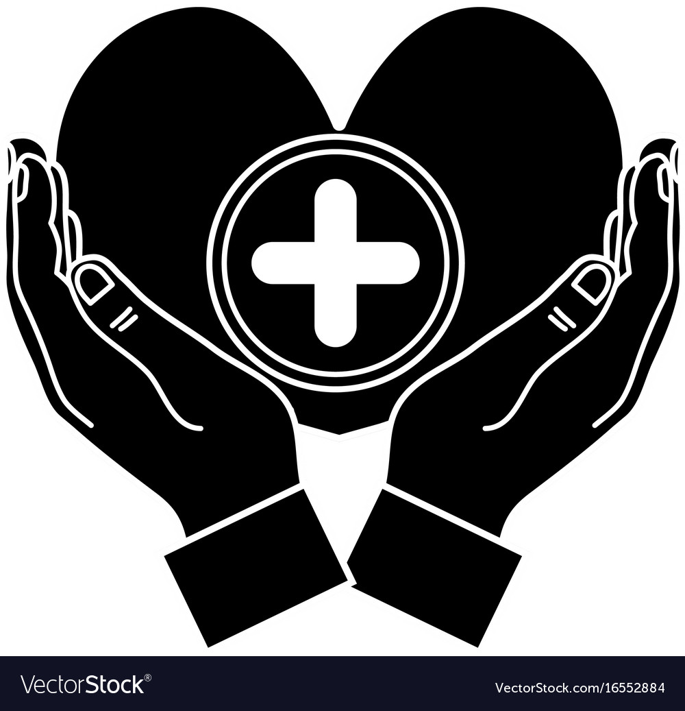 Contour hands with heart medicine symbol to help