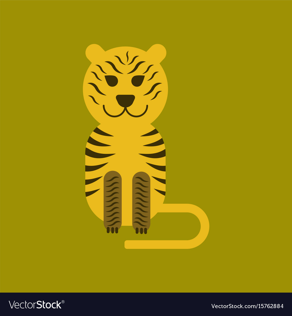 flat icon on background cartoon tiger royalty free vector