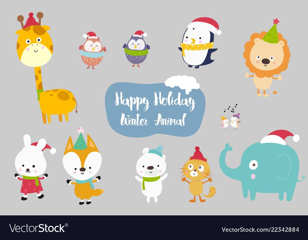 Happiness animal cartoon set