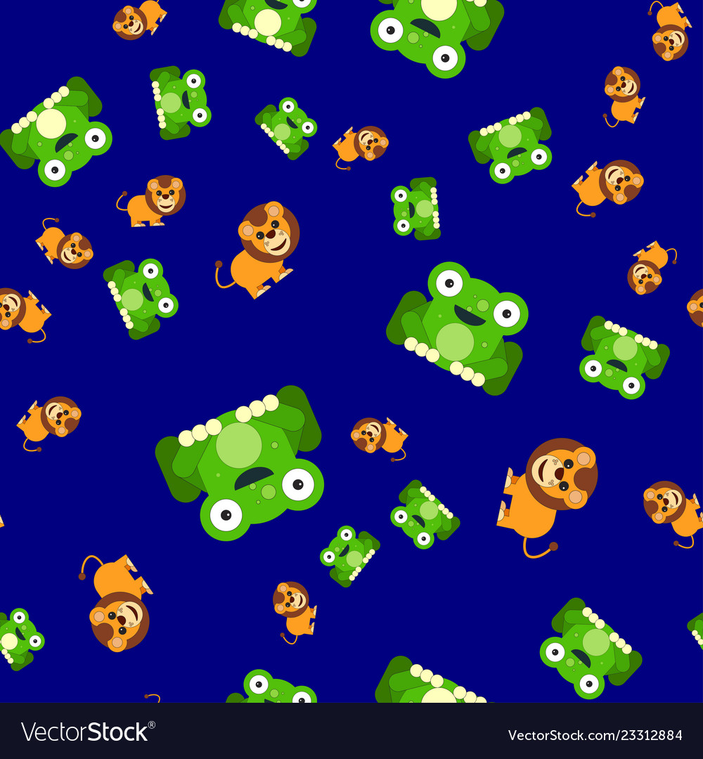 Seamless pattern of frogs and a lion