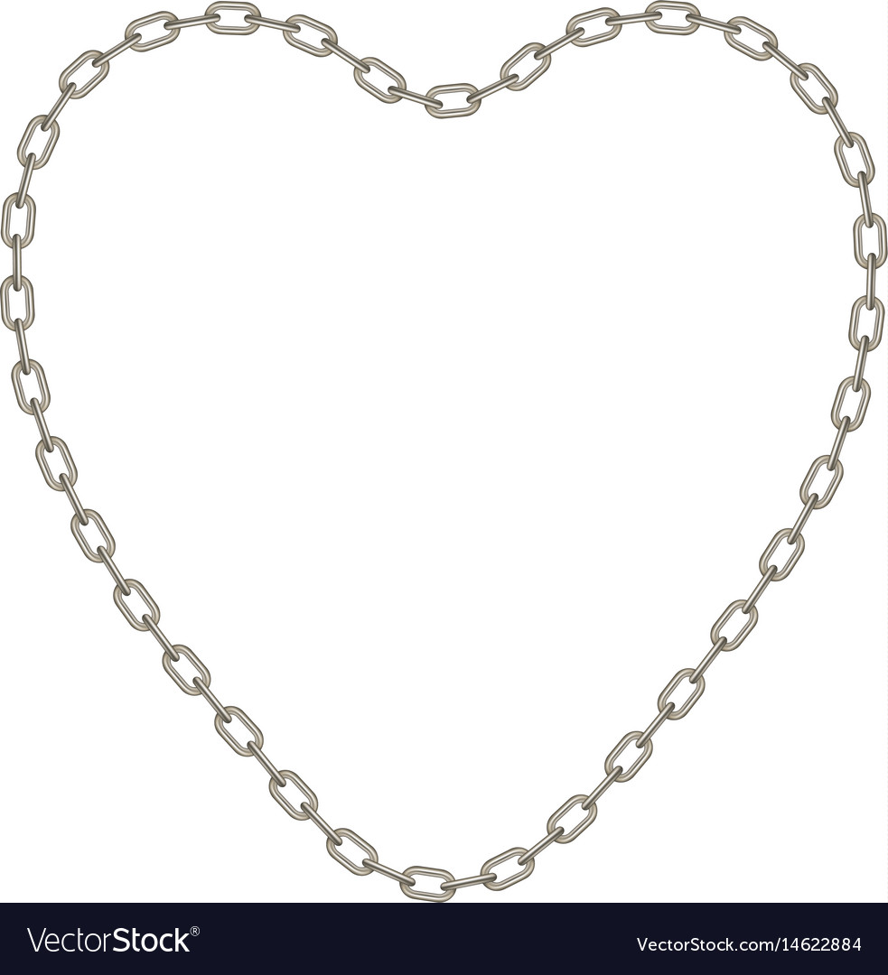 Silver chain in shape of heart