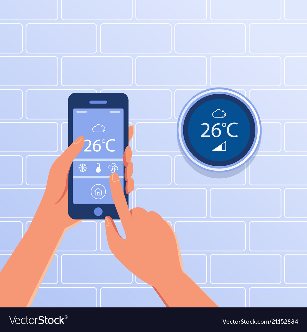 Smart thermostat as smart home concept Royalty Free Vector