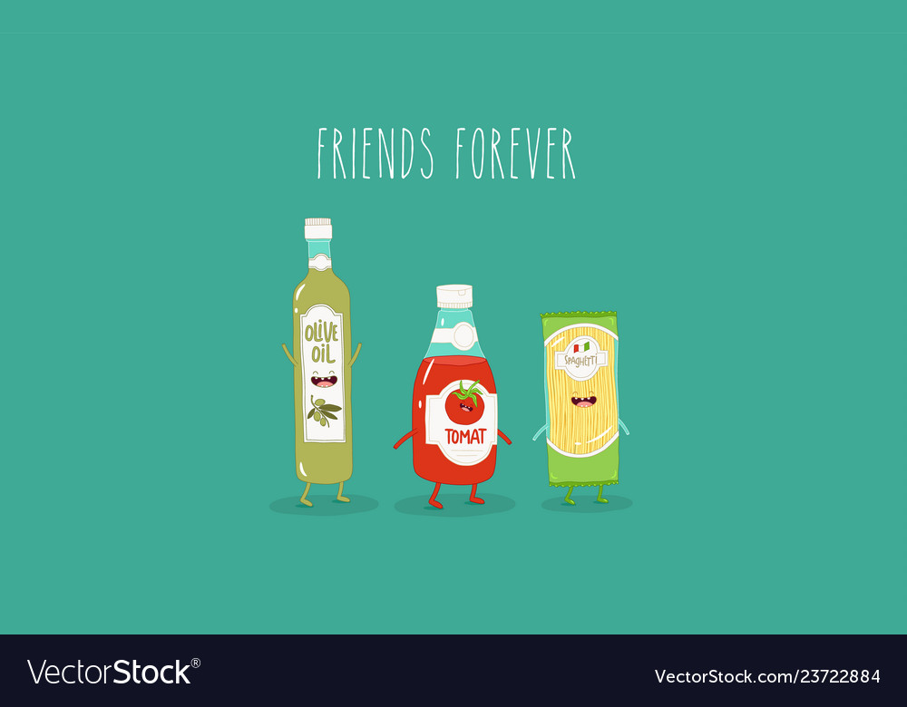 Spaghetti olive oil and ketchup are friends