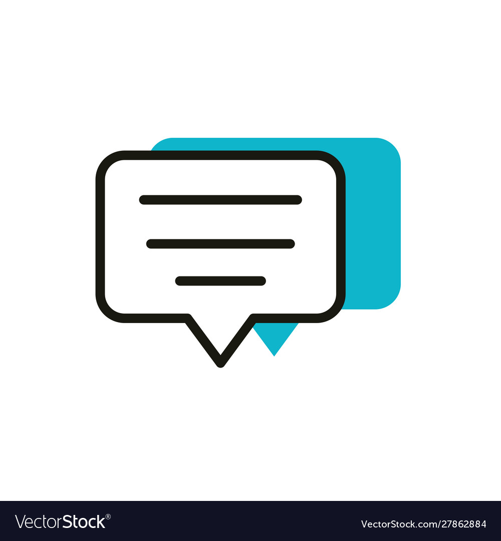 Speech bubble social media icon line and fill
