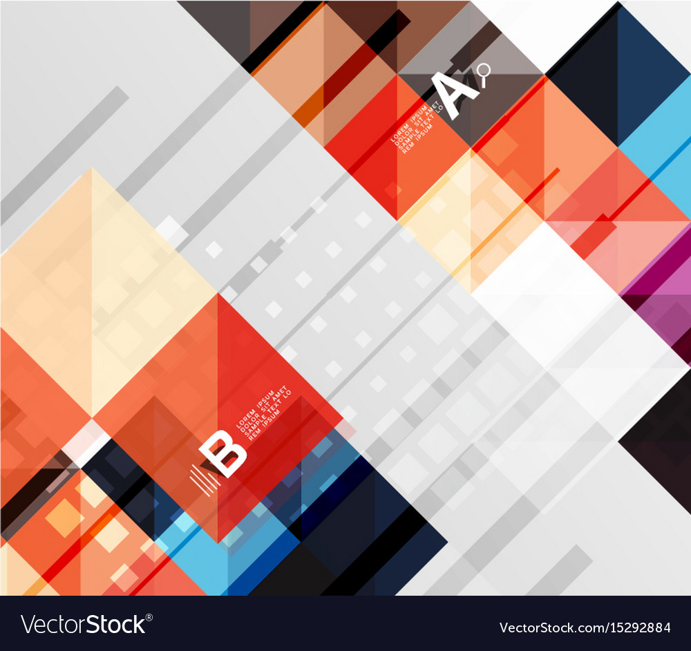 Square elements on gray abstract background