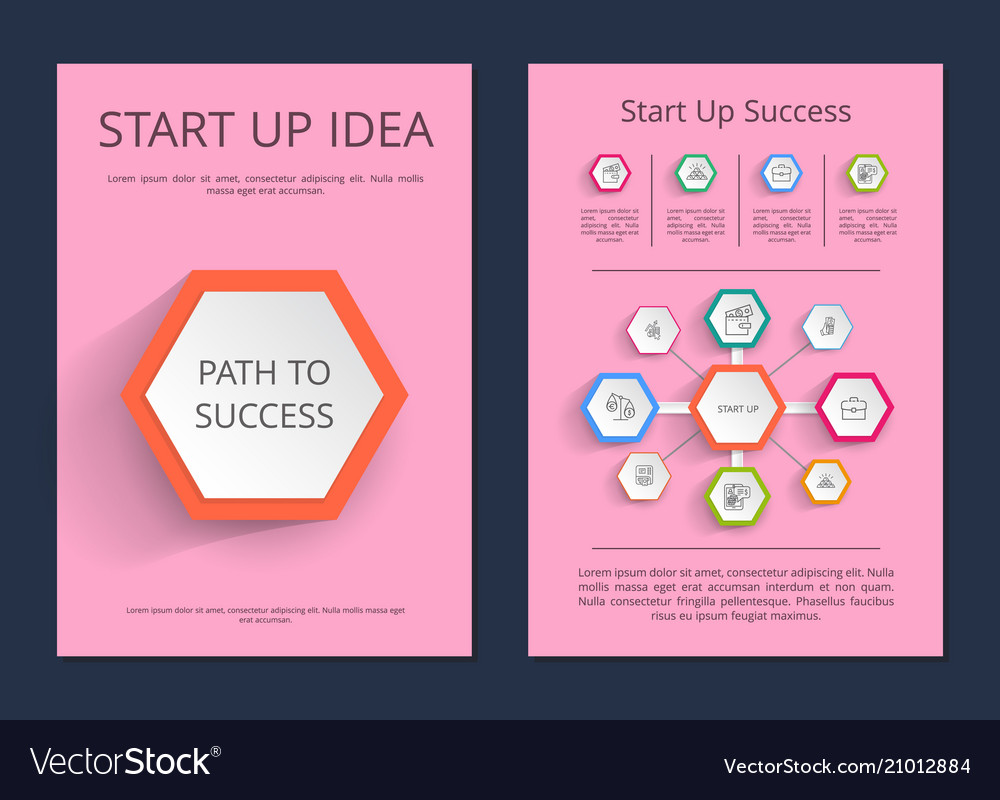 Start up idea path to success infographic posters