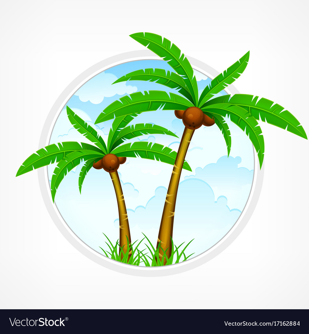 Tropical palm tree emblem