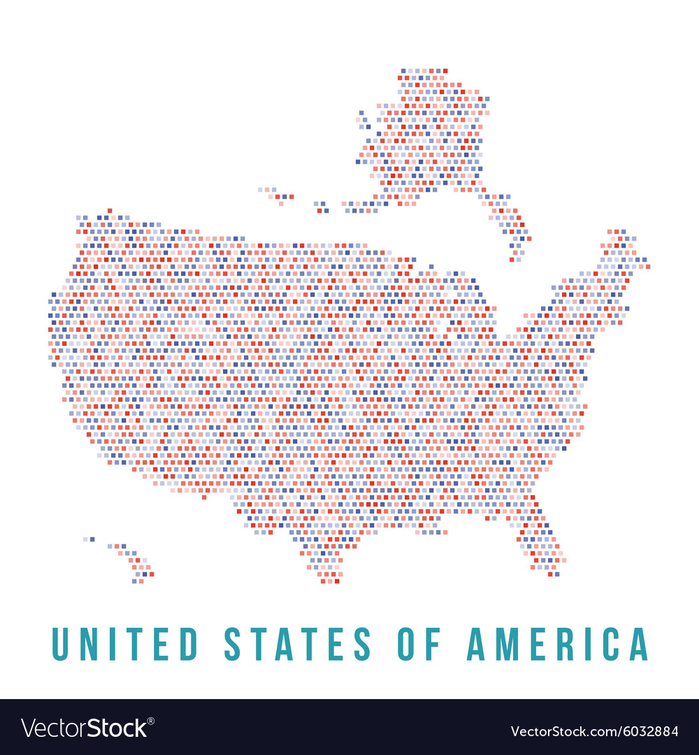 USA map square pixels white background vector image