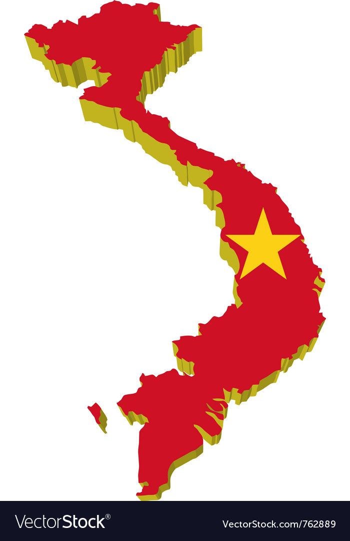 3d map of vietnam Royalty Free Vector Image - VectorStock