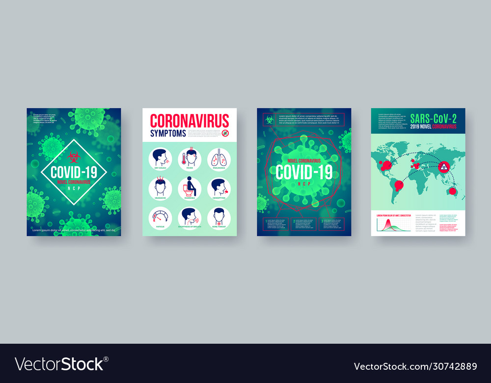 Coronavirus poster set with infographics elements