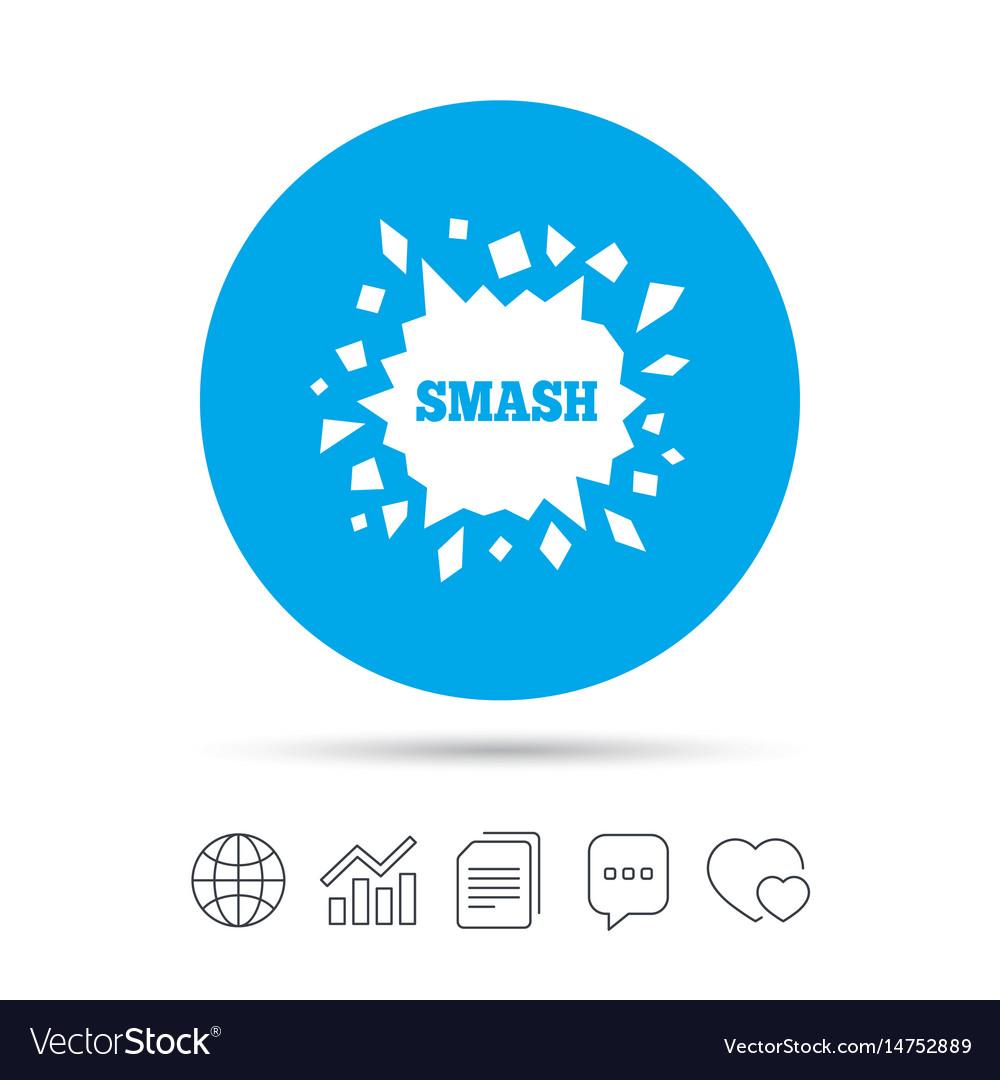 Cracked hole icon smash or break symbol