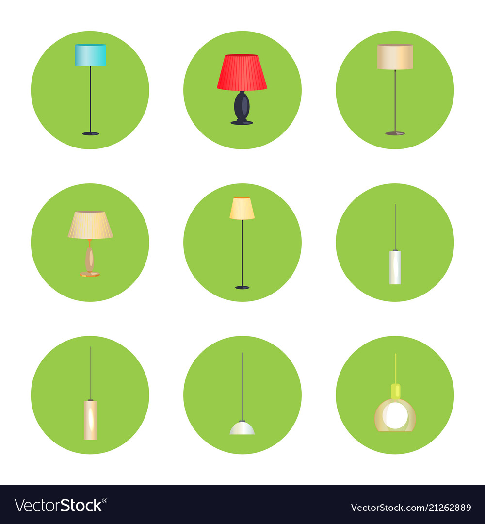 Electricity lamps isolated in green circles set