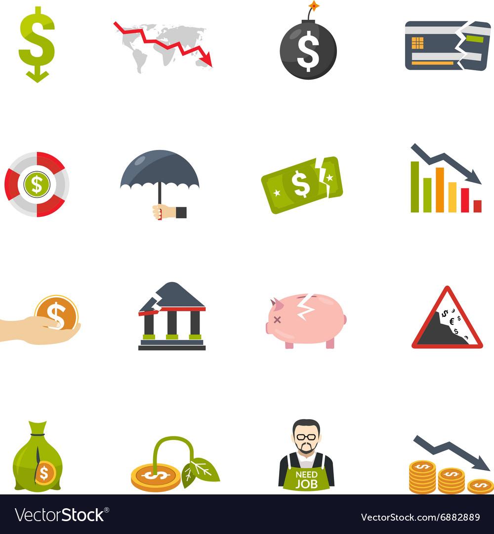 Finantial Crisis Flat Icons Set