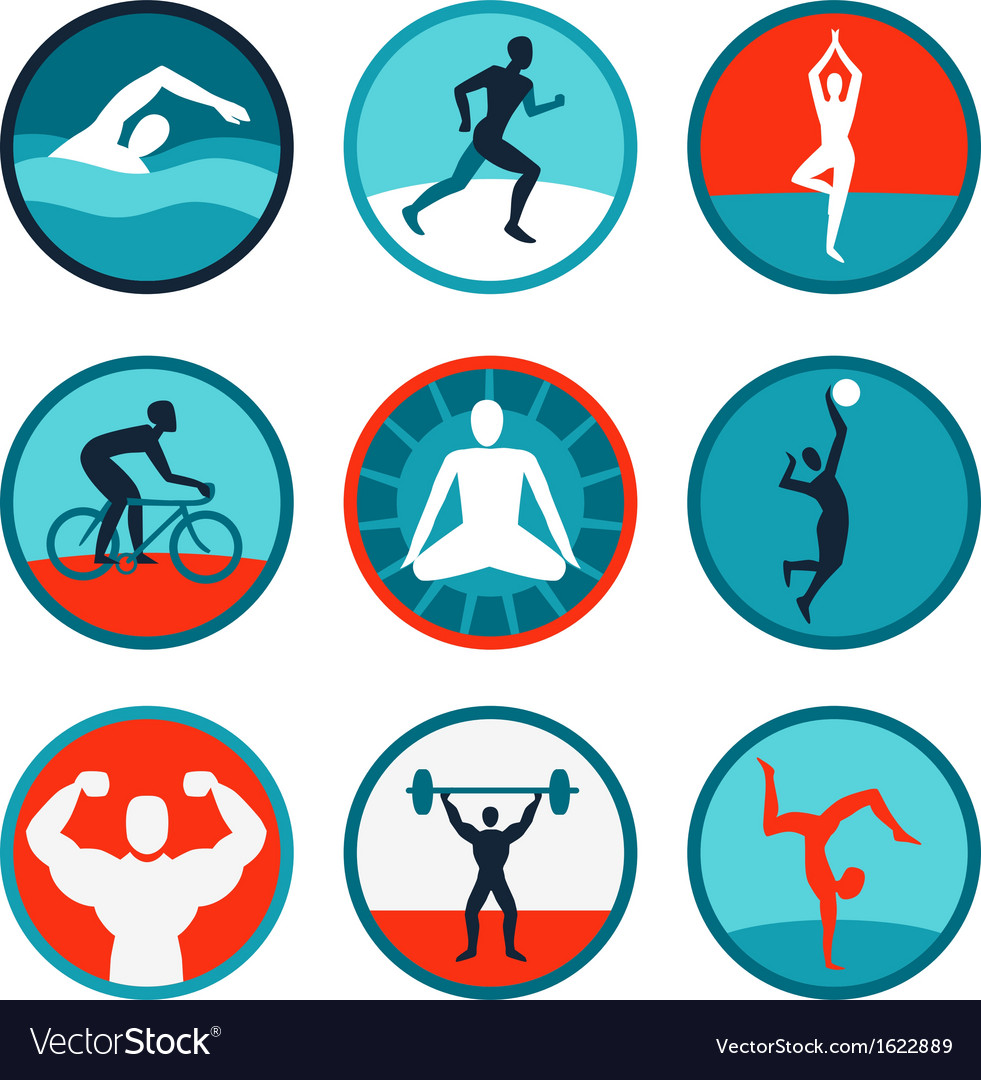Fitness icons and signs vector image