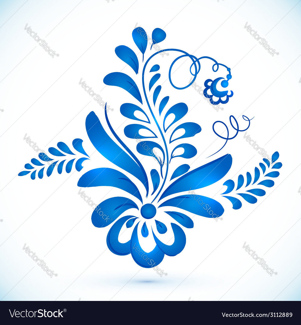 Floral element in gzhel style vector image