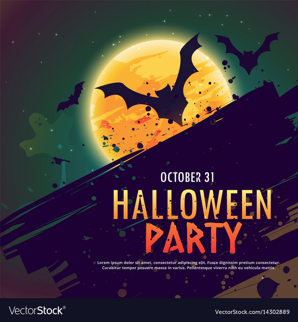 Halloween Party Invitation Background With Flying Vector Image