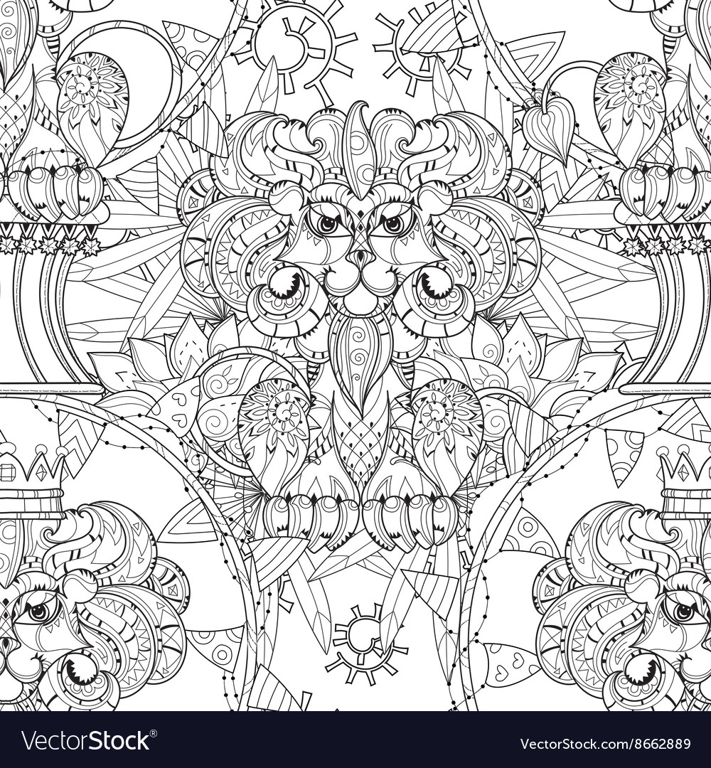 Hand drawn doodle outline lion in circus vector image