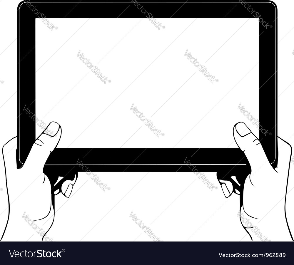 Hand holding digital tablet pc vector image