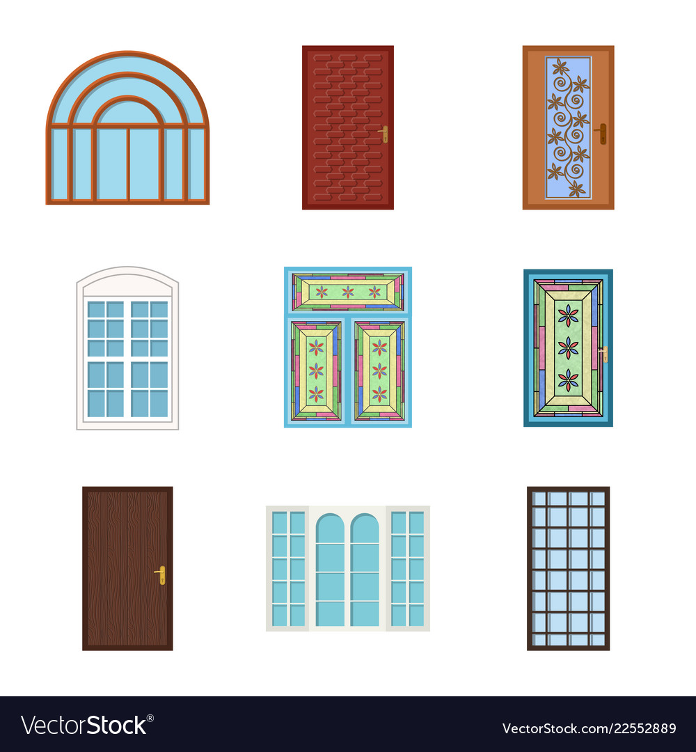 Isolated object of door and front icon set of