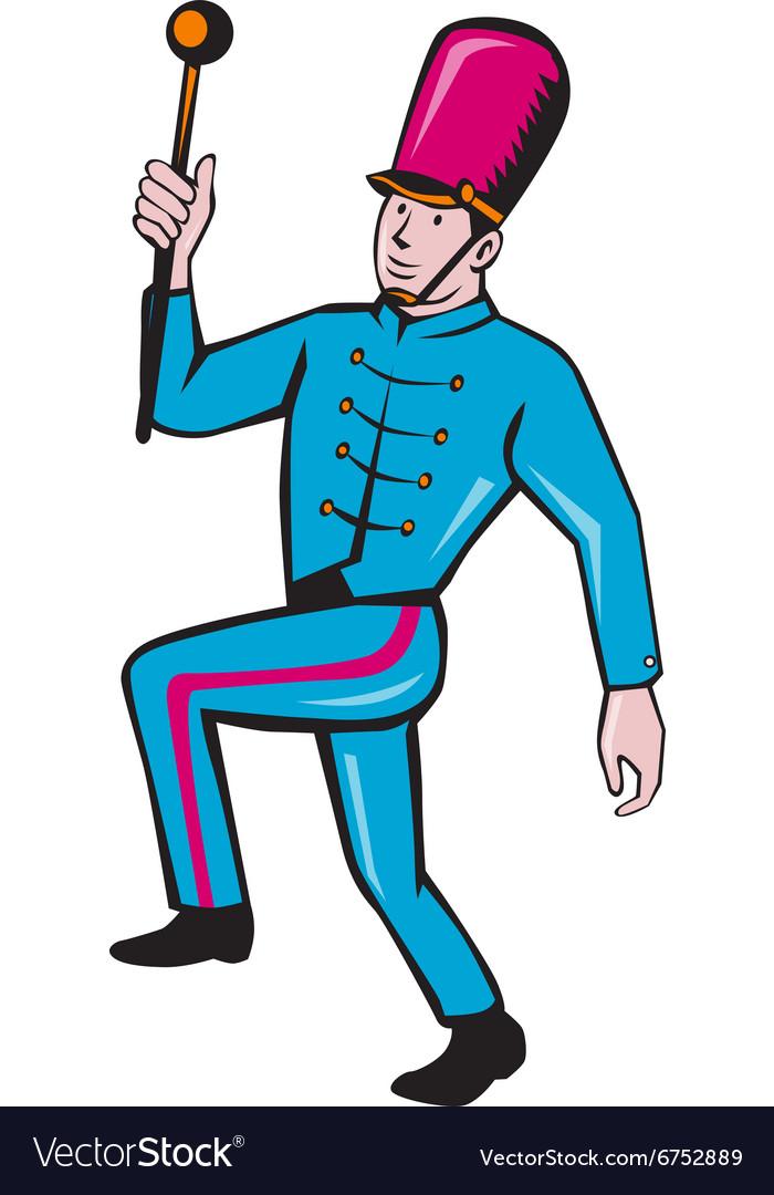 Marching Band Leader Baton Cartoon vector image
