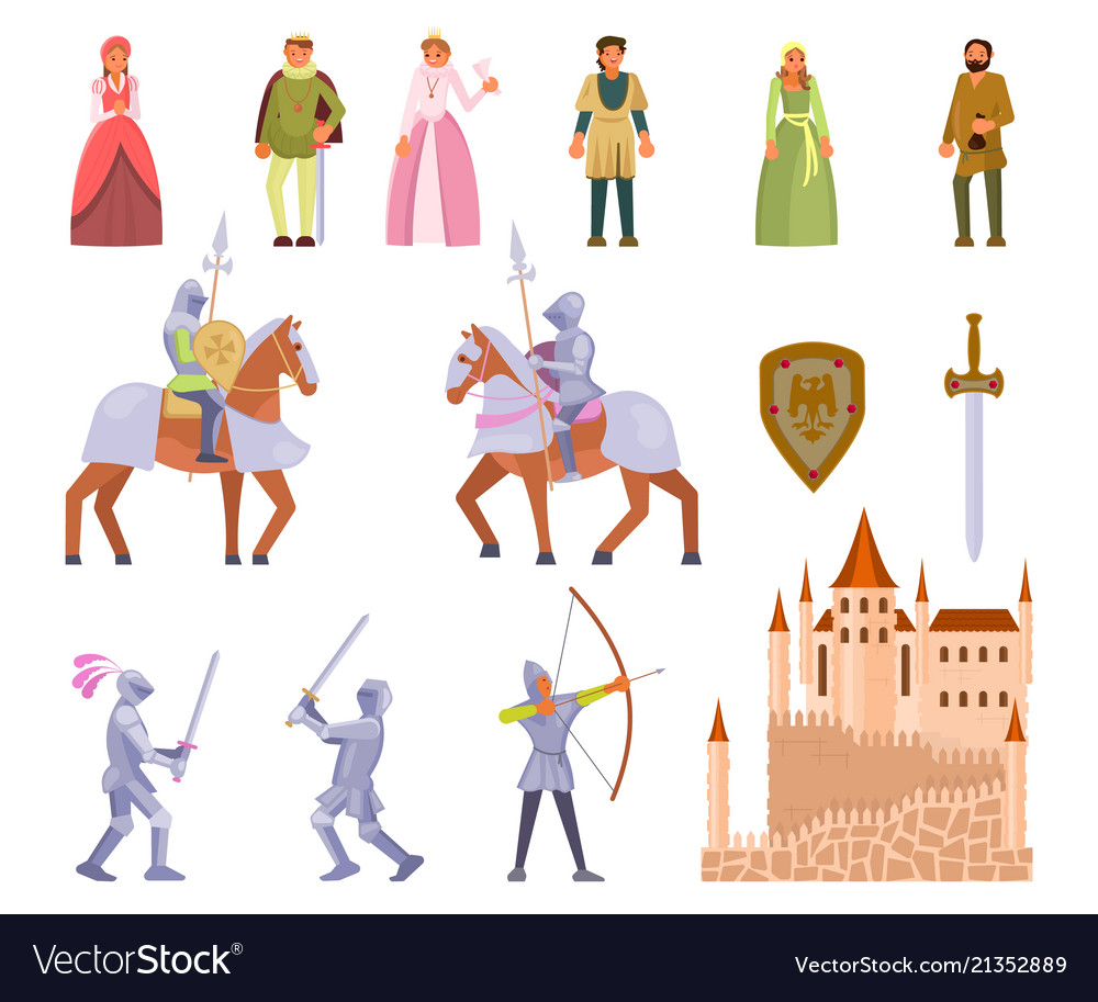 Medieval knight icon set flat