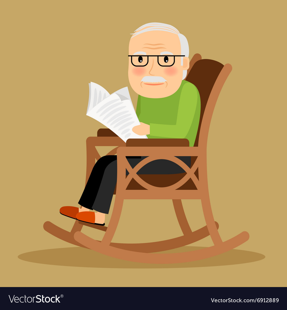 Old Man Sitting In Rocking Chair And Newspaper Vector Image
