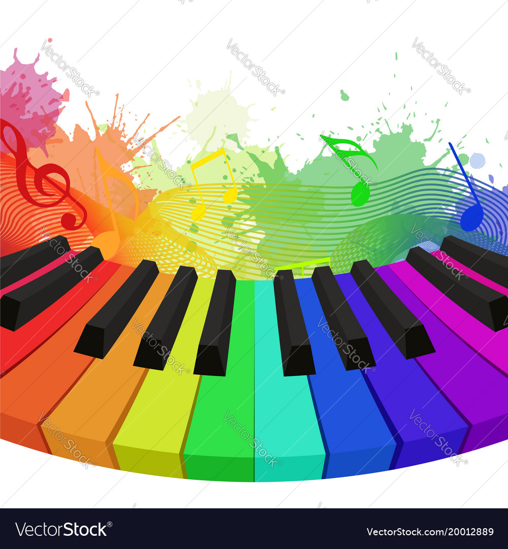Rainbow colored piano keys musical notes and w
