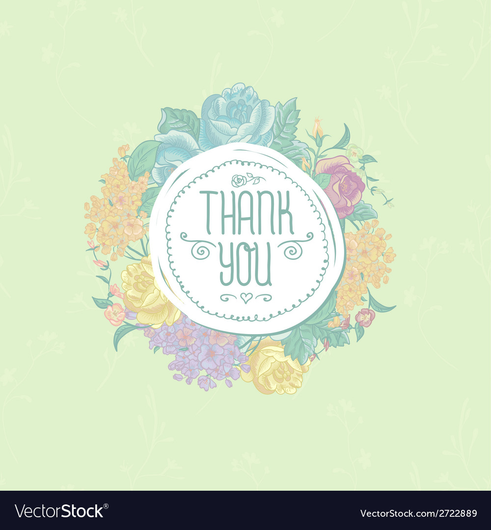 Vintage greeting card with flowers Thank you
