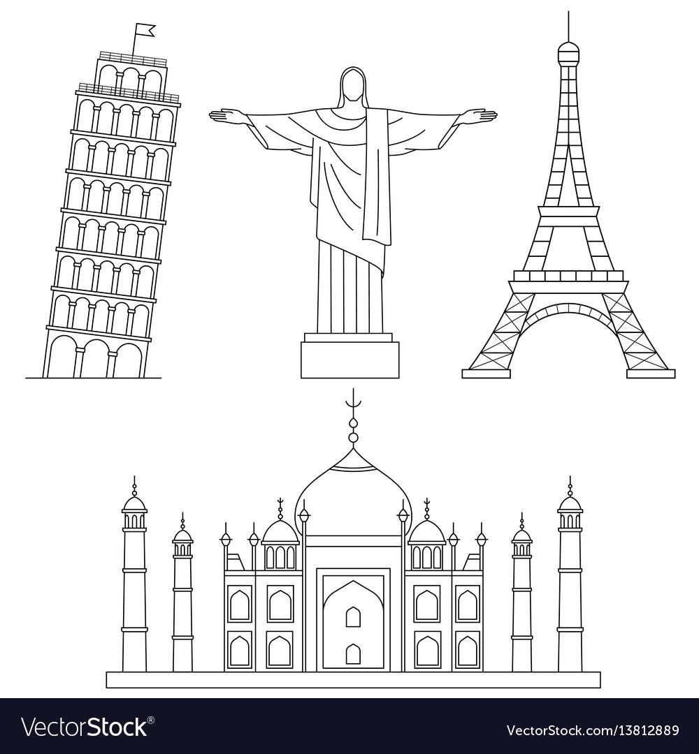 World landmarks eiffel tower leaning tower of