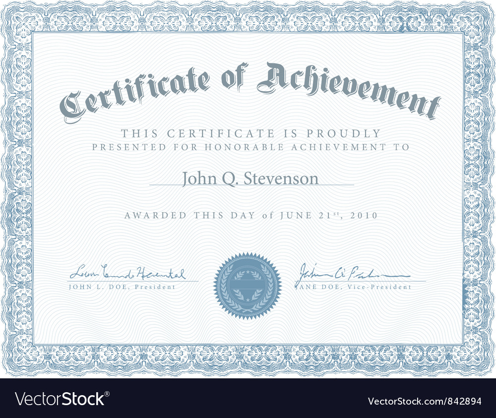 Achievement Certificate Royalty Free Vector Image