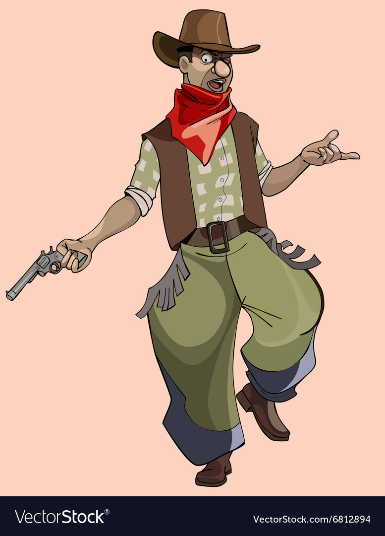 Cartoon funny man in cowboy clothes