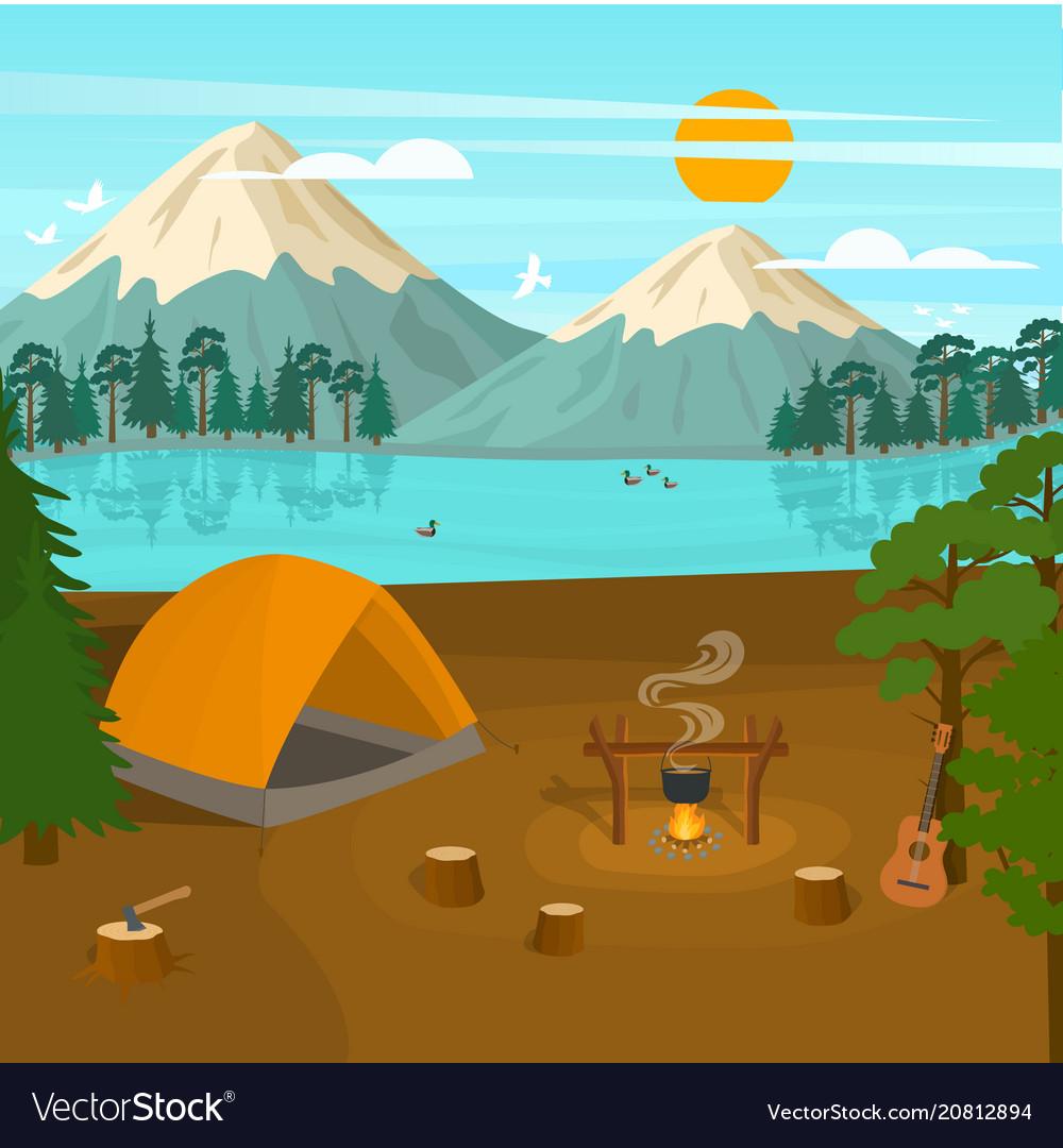 Cartoon summer tourist camp card poster