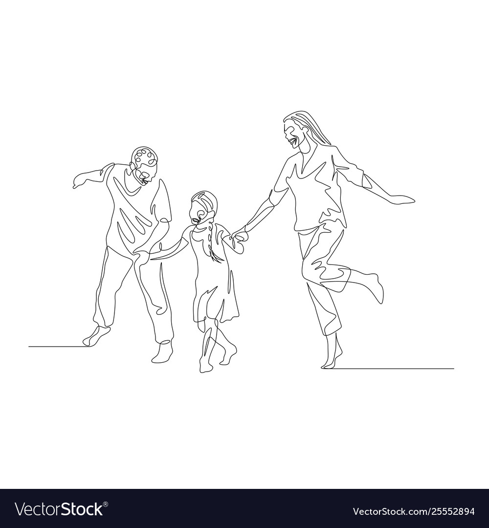 Continuous line family walking together and