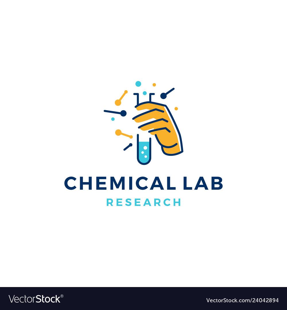 Hand hold laboratory glassware logo icon line