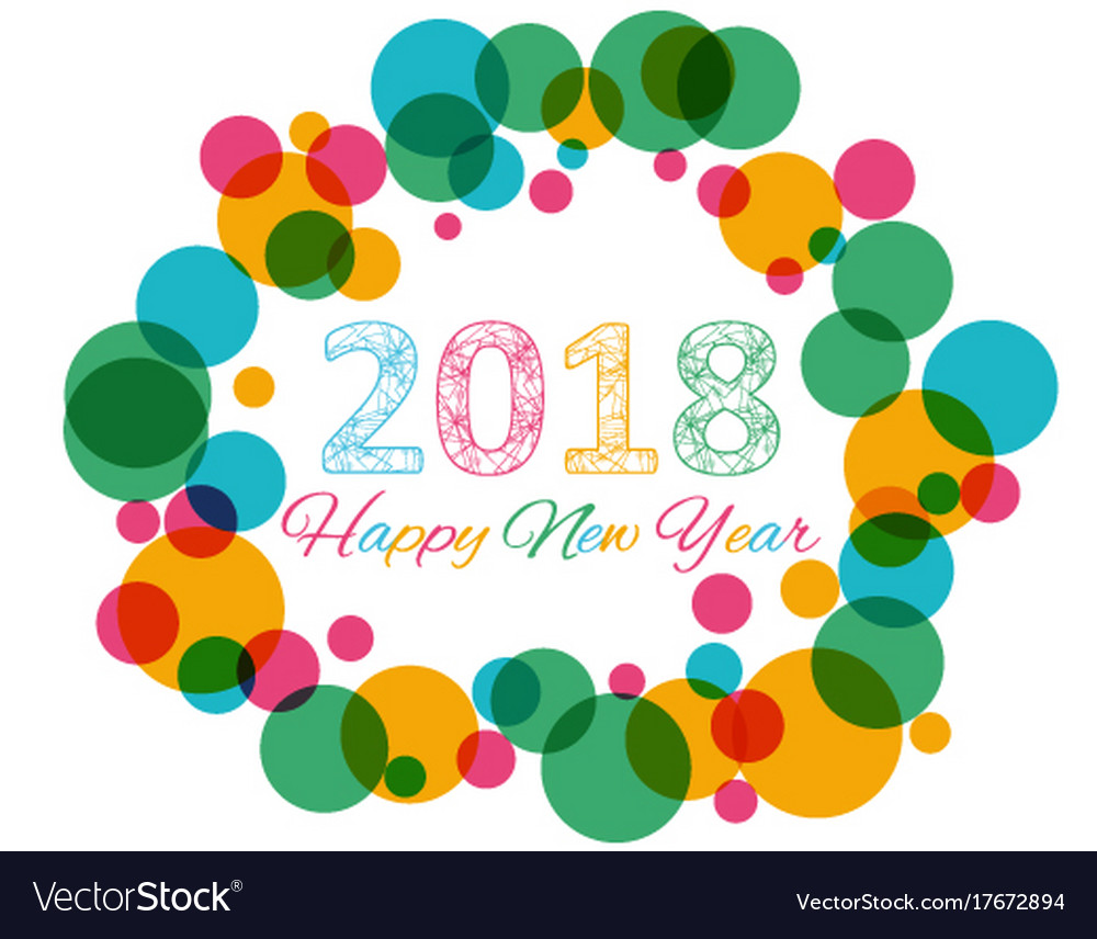 Happy new year 2018 multicolor background for vector image voltagebd Images