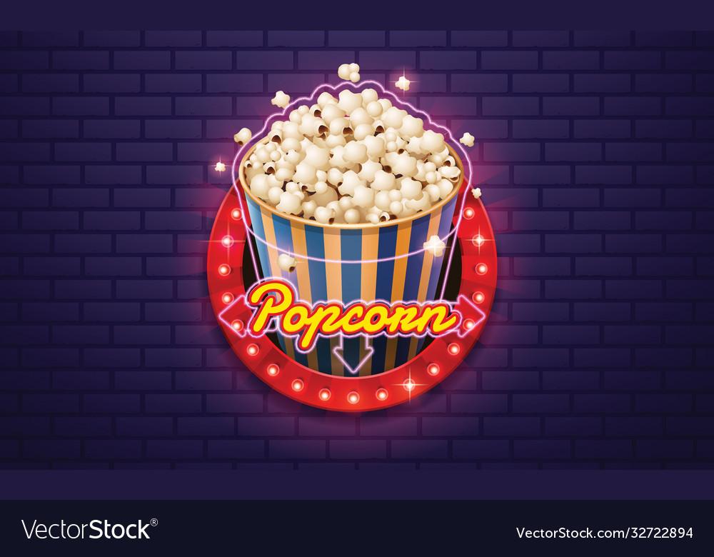 Light sign popcorn brickwall background