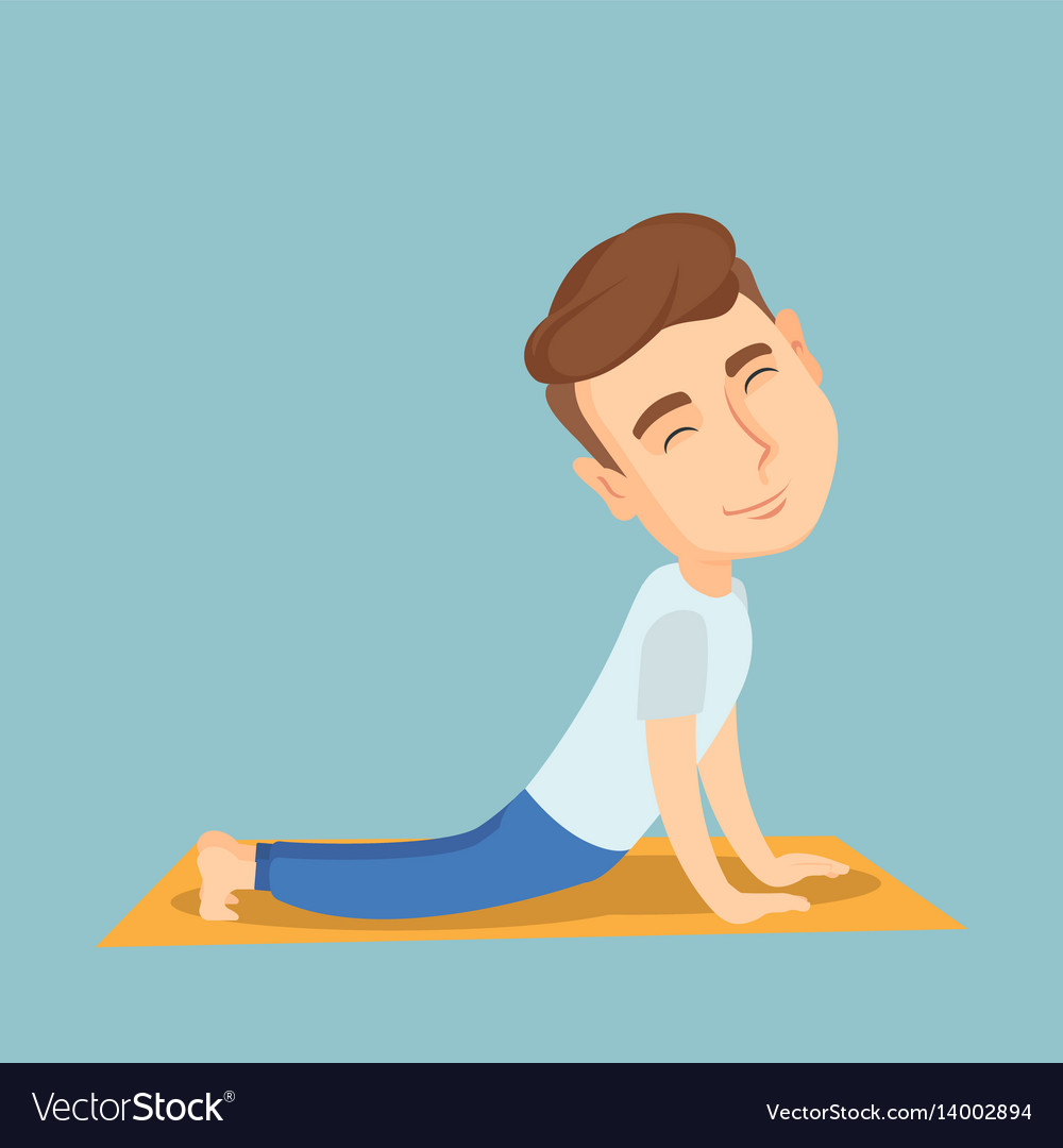 Man practicing yoga upward dog pose