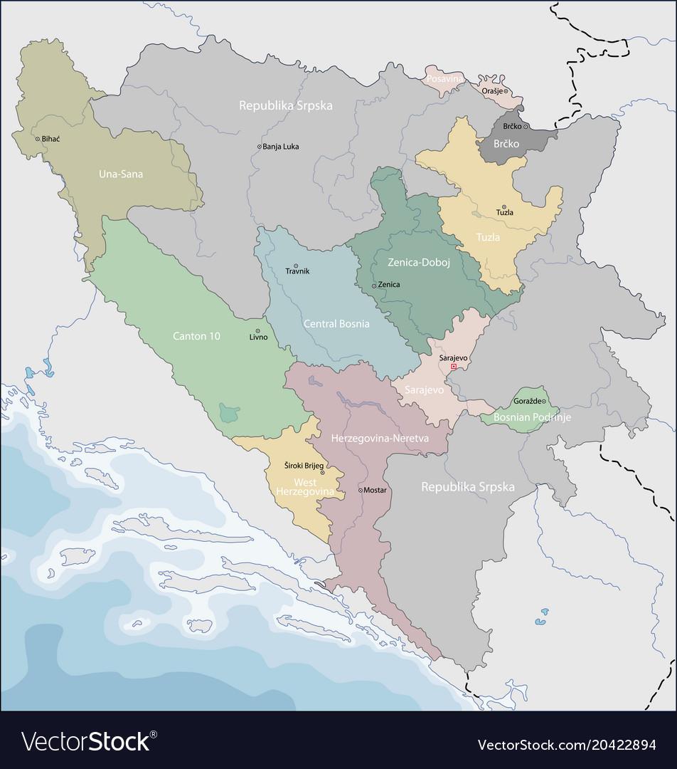 world map of bosnia Map Of Bosnia And Herzegovina Royalty Free Vector Image world map of bosnia