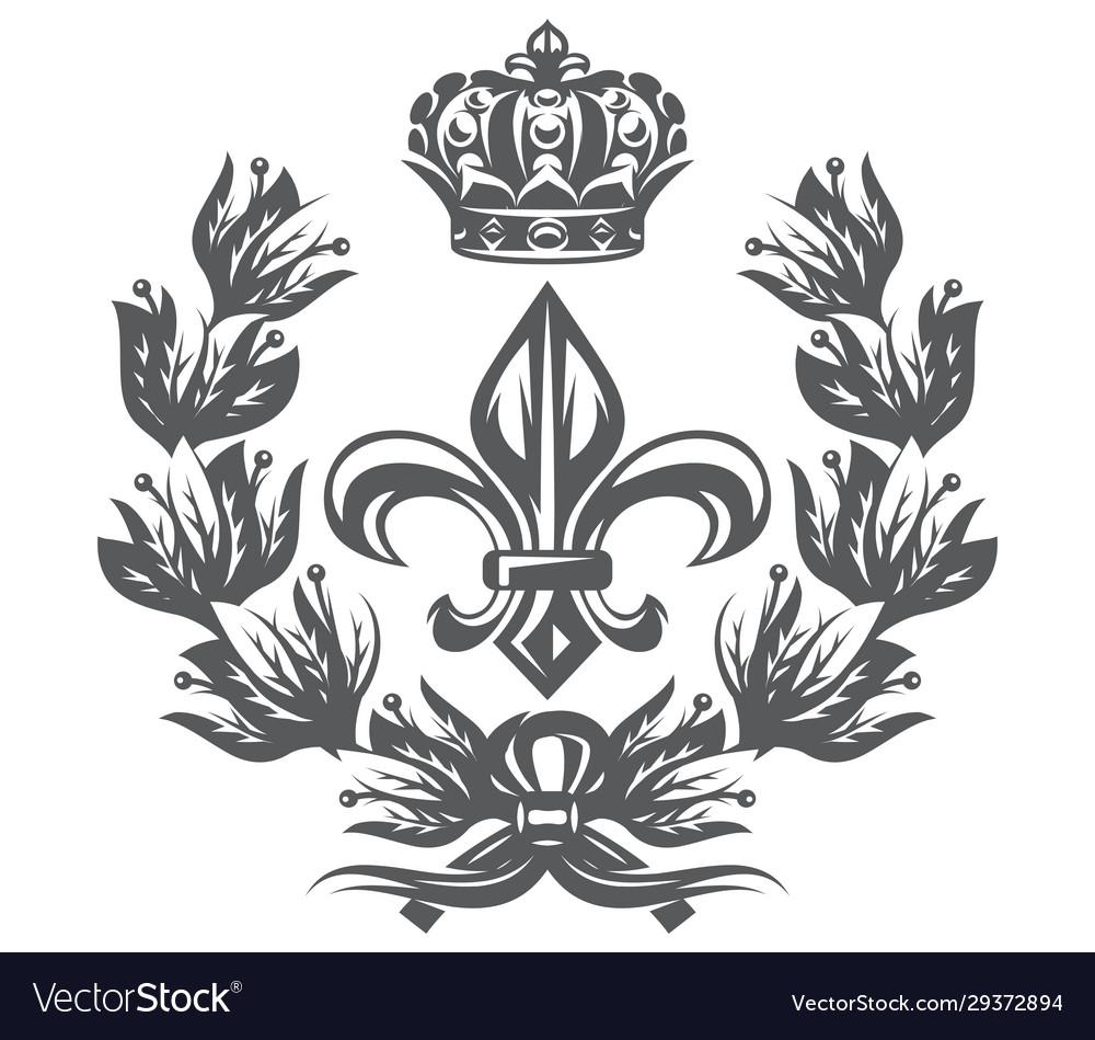 Monochrome pattern with fleur de lis laurel