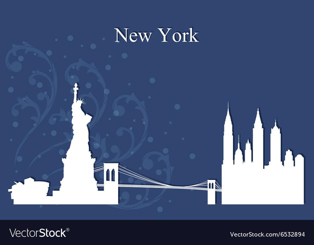 New York city skyline on blue background