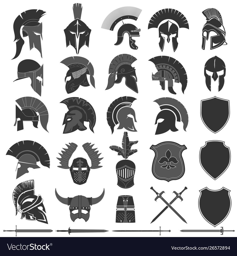 Spartan helmet logo set greek warrior