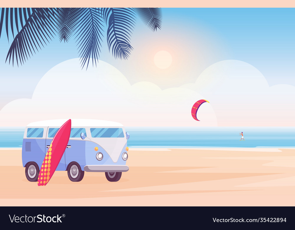 Surfer travel bus with surfboard on tropical beach