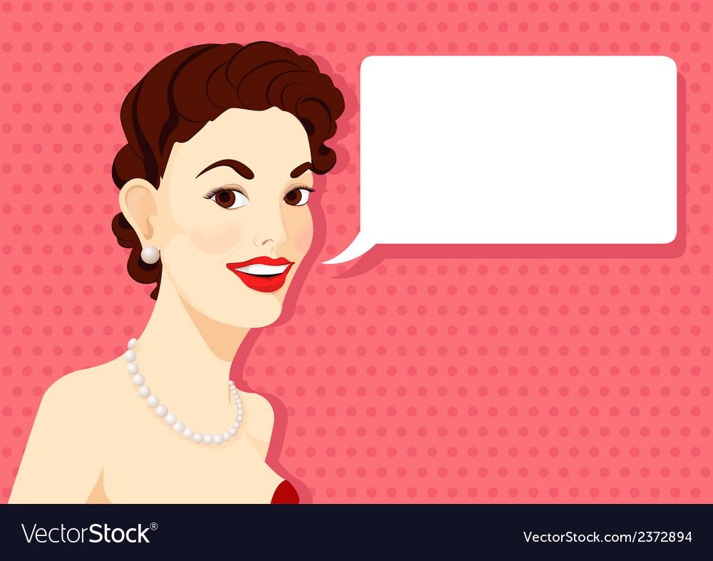 Vintage brunette girl is speaking vector image