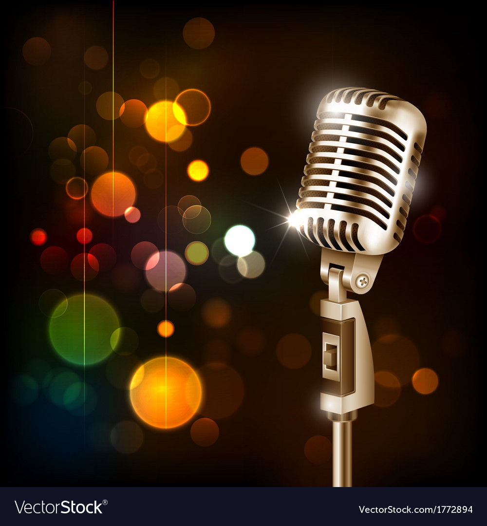 Vintage microphone on abstract background vector image - Microphone wallpaper ...